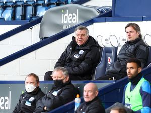 """West Bromwich Albion manager Sam Allardyce watches on during the Premier League match at The Hawthorns, West Bromwich. Picture date: Monday April 12, 2021. PA Photo. See PA story SOCCER West Brom. Photo credit should read: Michael Steele/PA Wire...RESTRICTIONS: EDITORIAL USE ONLY No use with unauthorised audio, video, data, fixture lists, club/league logos or """"live"""" services. Online in-match use limited to 120 images, no video emulation. No use in betting, games or single club/league/player publications.."""