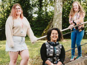Telford College students Charlie Robinson 17, Lindsey Ellis 22, and Emma Lloyd 18