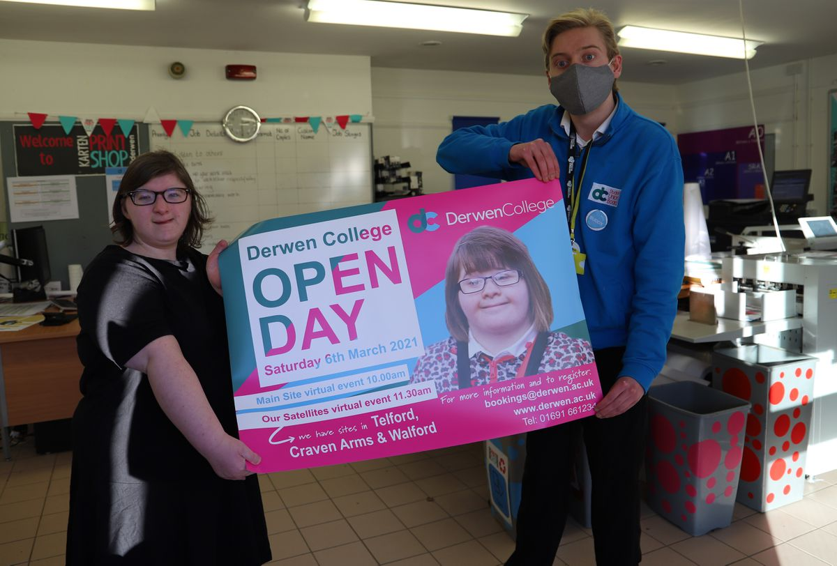 Retail students Mia and Tom with an open day poster