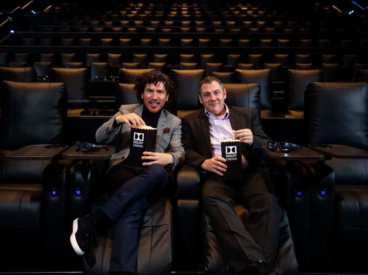 Head of Dolby Cinema Exhibitor Relations for Europe, Youry Bredewold, and Odeon Broadway Plaza general manager, Martin Purchase, inside the new Dolby Cinema screen. Credit: Jon Parker Lee