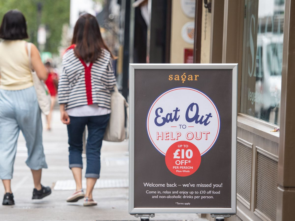 An Eat Out to Help Out sign outside a restaurant
