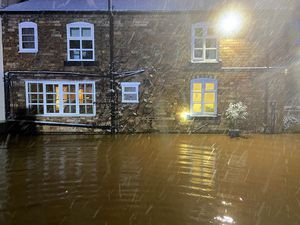 Flooding affecting a property in Woore. Pic: @SFRS_MDrayton