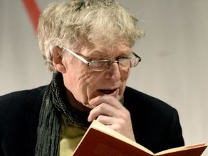 Renowned local poet and novelist Paul Binding, performs at the first open mic poetry evening at the Poetry Pharmacy, 36 High Street, Bishops Castle.
