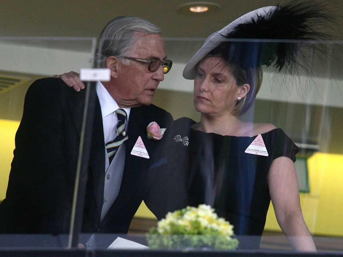 The Countess of Wessex, pictured with her father Christopher Rhys-Jones at Royal Ascot, has revealed he has received his Covid vaccine. PA Archive/PA Images