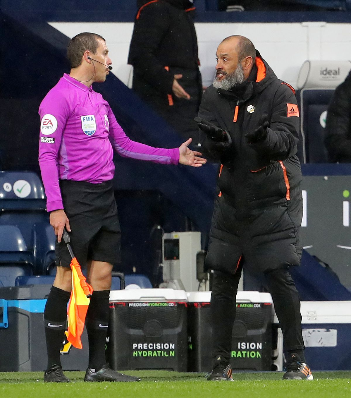 "Wolverhampton Wanderers manager Nuno Espirito Santo appeals to the linesman during the Premier League match at The Hawthorns, West Bromwich. Issue date: Monday May 3, 2021. PA Photo. See PA story SOCCER West Brom. Photo credit should read: Geoff Caddick/PA Wire. ..RESTRICTIONS: EDITORIAL USE ONLY No use with unauthorised audio, video, data, fixture lists, club/league logos or ""live"" services. Online in-match use limited to 120 images, no video emulation. No use in betting, games or single club/league/player publications.."