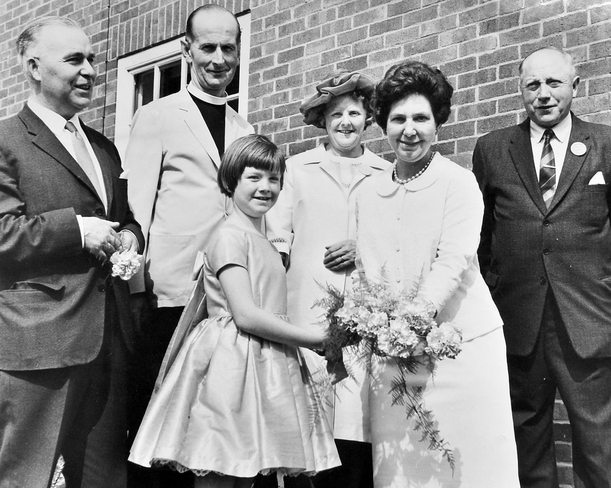 """This picture was taken on May 29, 1968, at Wem Parish Church garden party held in the rectory gardens. Our original caption back then said that the event was """"opened by the Deputy Mayor and Mayoress of Shrewsbury, Councillor and Mrs Dennis Pursell. Following the opening eight-year-old Caroline Edwards presented a bouquet to the Deputy Mayoress. From left are: Councillor Pursell, Preb J B Morson, Rector of Wem Parish Church, Mrs and Mr E J Edwards, assistant secretary and chairman, with Caroline and Mrs Pursell."""""""