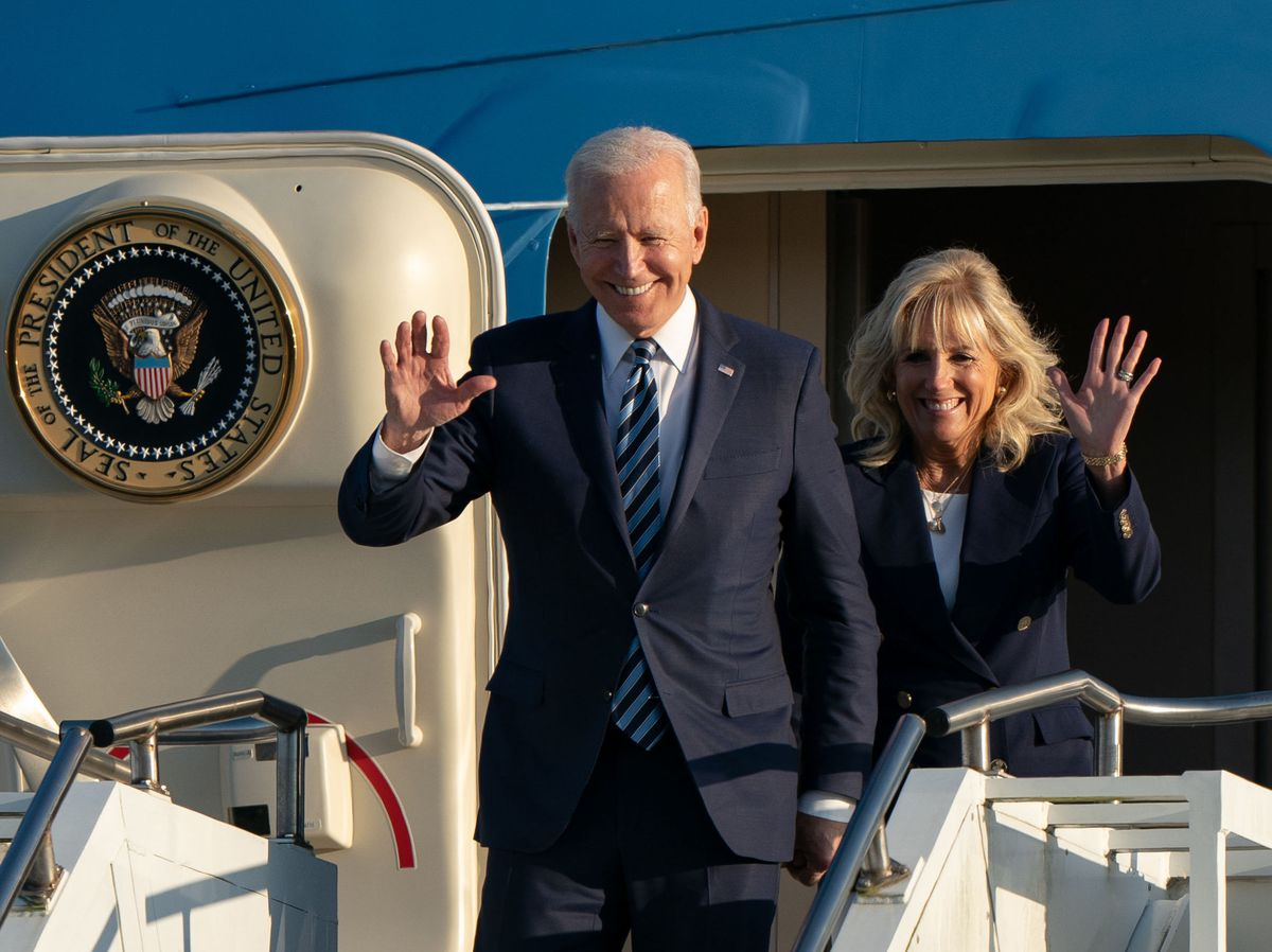 US President Joe Biden and First Lady Jill Biden flew over Shropshire on their way to the G7 summit in Cornwall