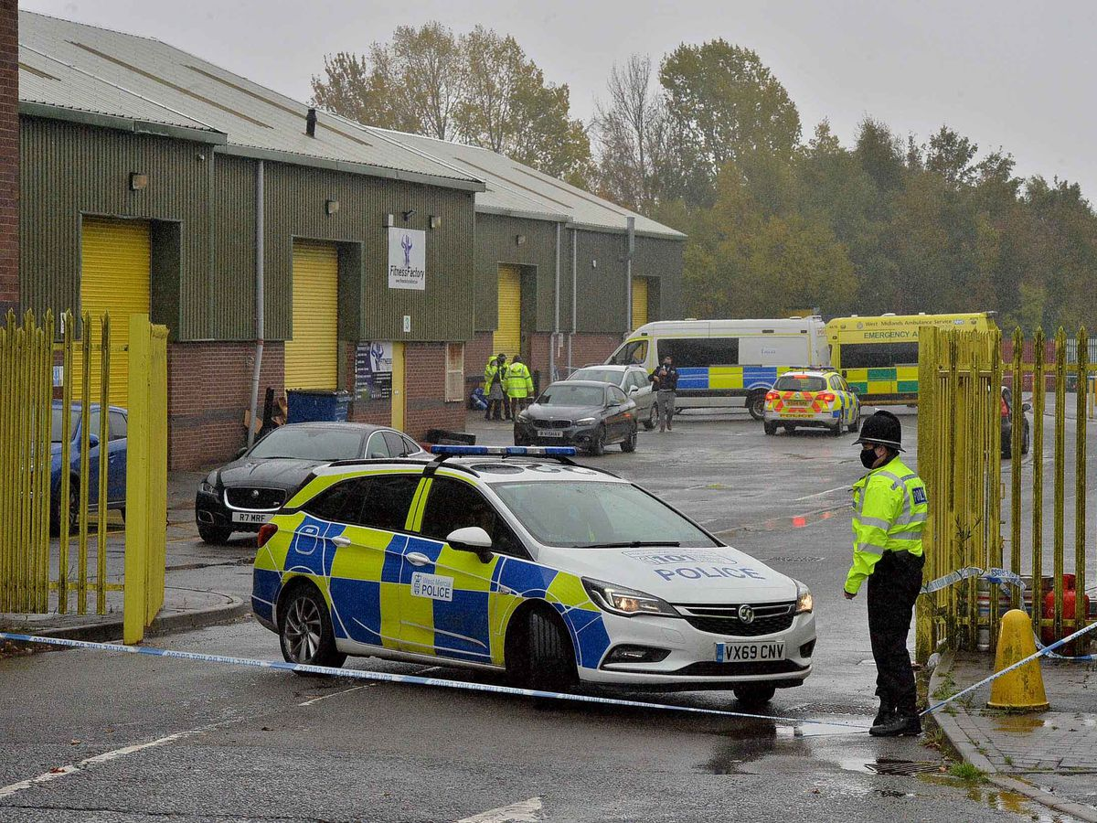 Police sealed off the business park in the wake of the shooting