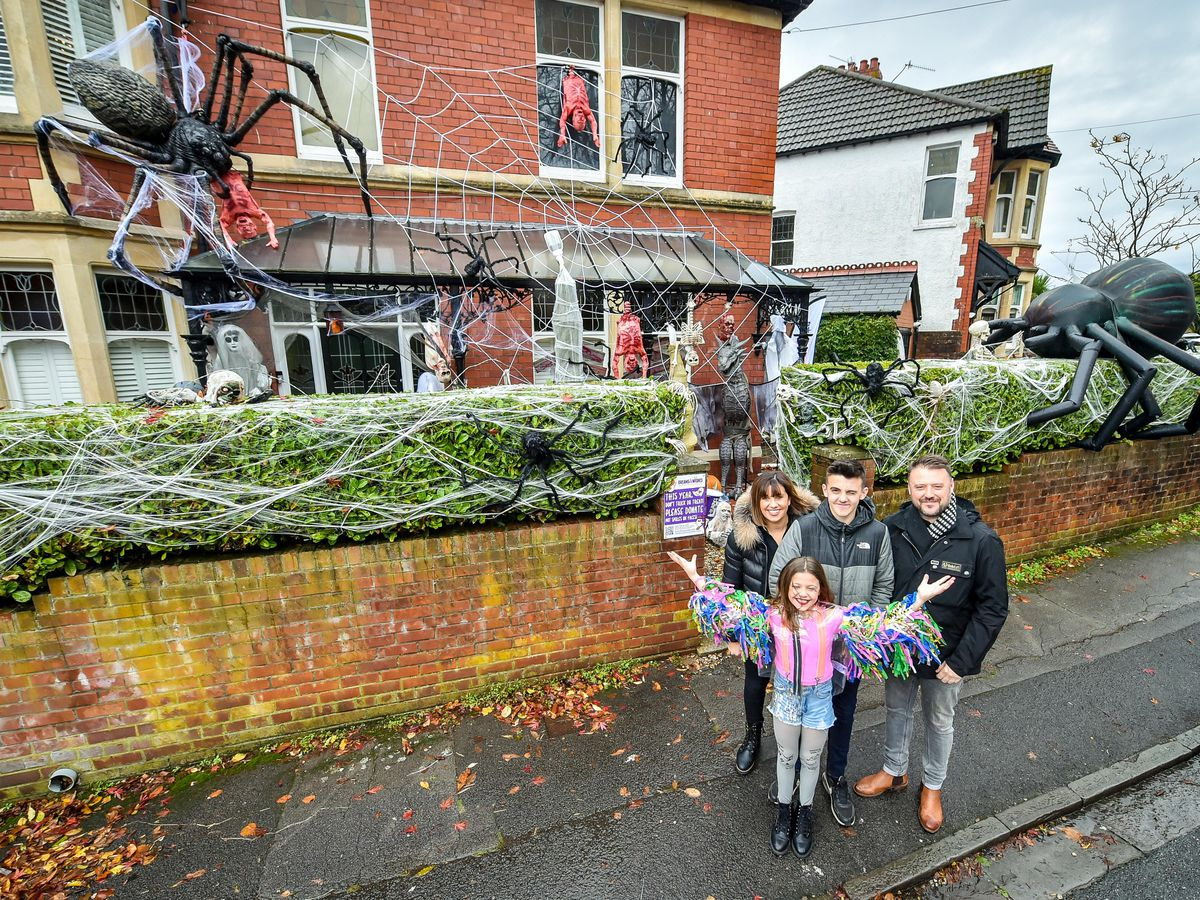 The Hargreaves family home in Llandaff, near Cardiff, is decked out and adorned with scores of realistic looking Halloween decorations (Ben Birchall/PA)