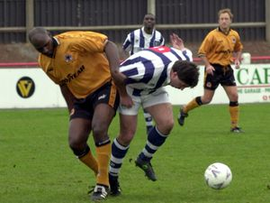 SPORT.. Wolverhampton Wanderers All Stars v West Bromwich Albion All Stars at Shifnal Town. (left) Joe Jackson of Wolves.