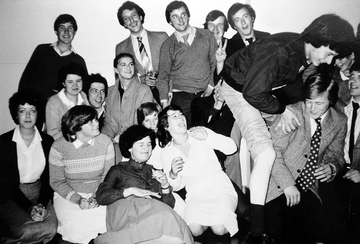 Any other business? Members of Whittington and Oswestry Young Farmers Club are photographed here having some fun after one of their club meetings back in October 1981.