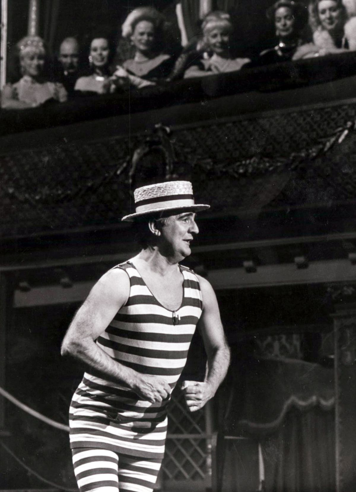 No-one could model an Edwardian bathing costume and boater hat better than Billy Dainty, pictured here in The Good Old Days, on BBC1 in 1980