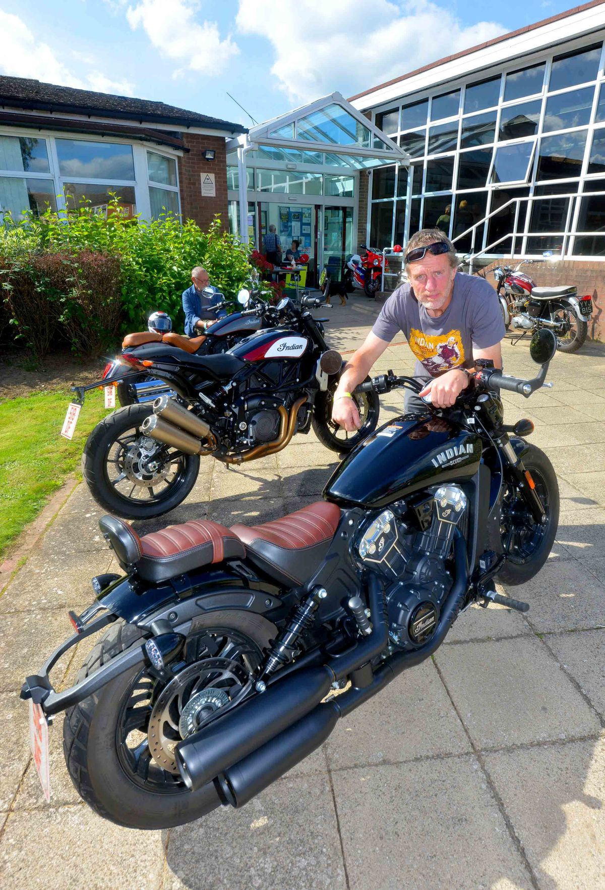 Mark Grinnall from Stourport with a 2019 Indian Scout Bobber