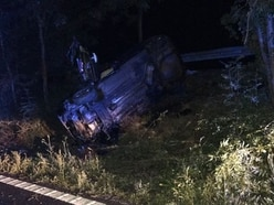 Car overturns on M54 at Wellington