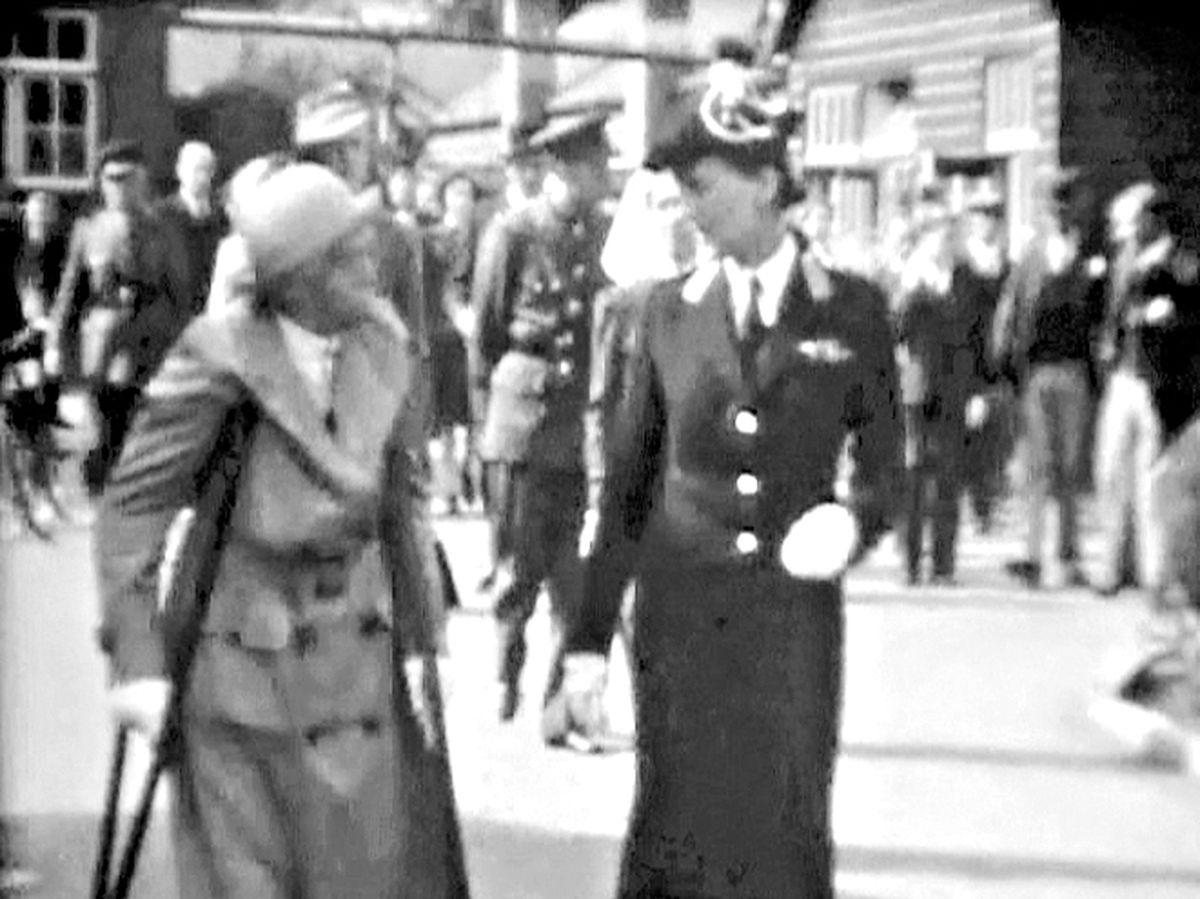 Dame Agnes Hunt, on crutches, shows Princess Marina, Duchess of Kent, around the Robert Jones and Agnes Hunt Orthopaedic Hospital, on September 20, 1943.