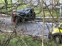 Two injured as car overturns in Telford