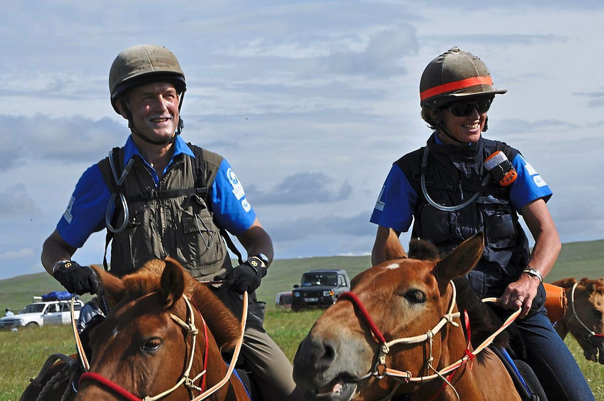 Mr and Mrs Paterson taking part in the Mongol Derby in 2011