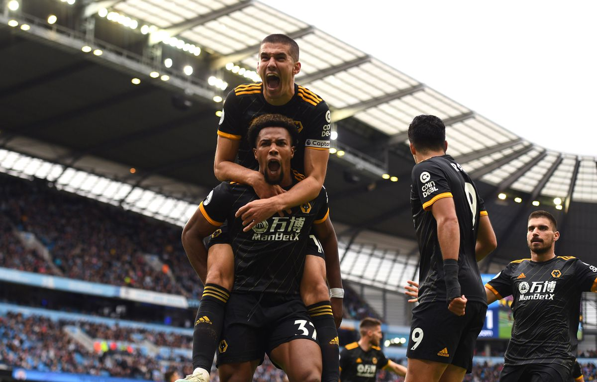 Adama Traore of Wolverhampton Wanderers celebrates after scoring a goal to make it 0-1 with Conor Coady (AMA)