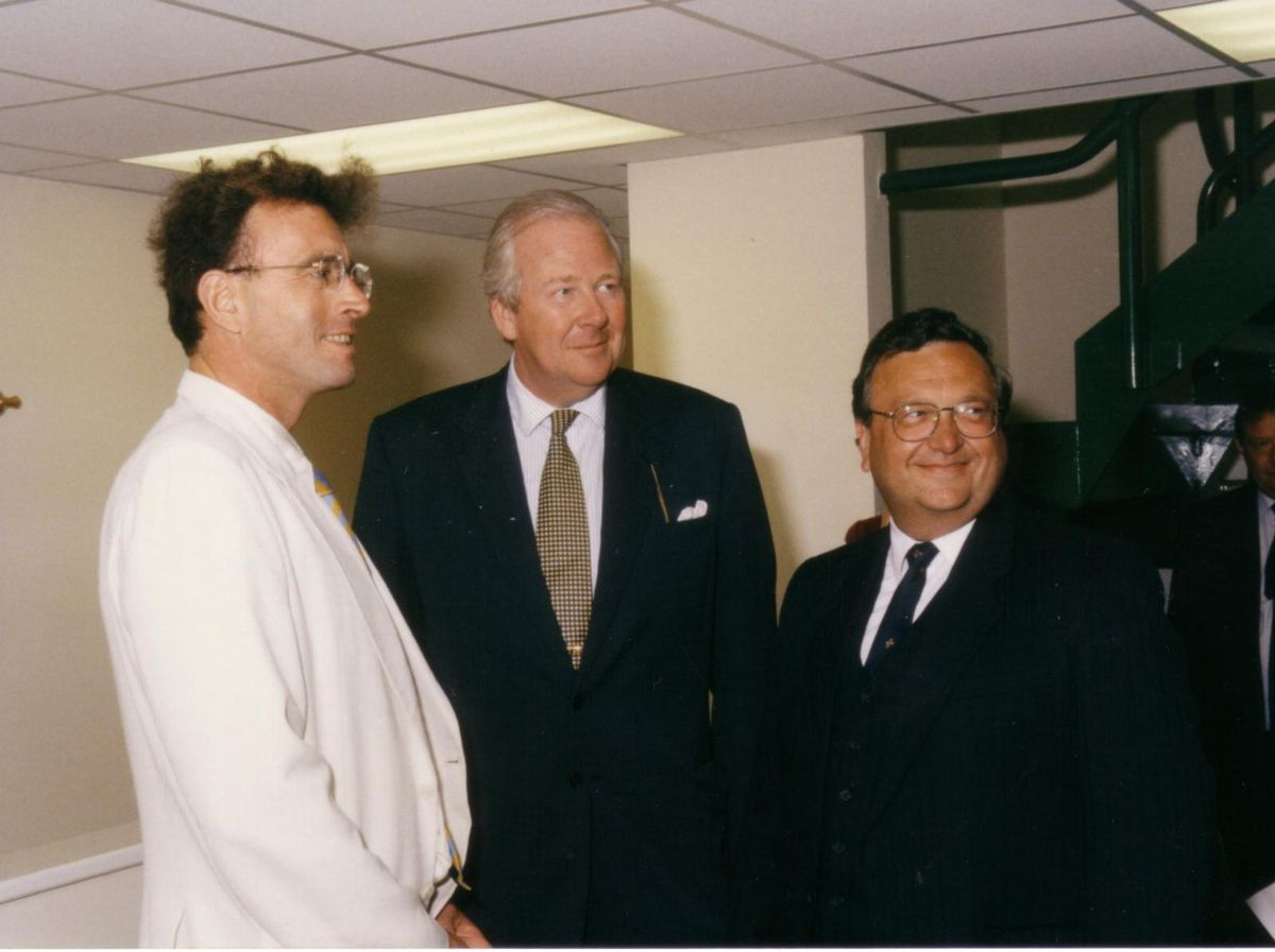 Peter Phillips, Lord Houghton and Graham Biggs (CEO South Shropshire Distrct Council) at the opening of Challenge Court in Bishop's Castle 1997