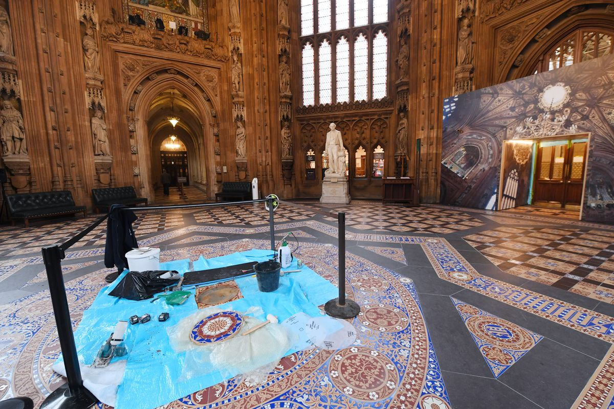 Tiles have been laid in the central lobby. Pictures: Jessica Taylor