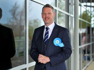 SHREWS COPYRIGHT EXPRESS&STAR TIM THURSFIELD 10/05/21.West Mercia Police and Crime Commissioner election at Shrewsbury Sports Village..Conservative candidate John Campion..