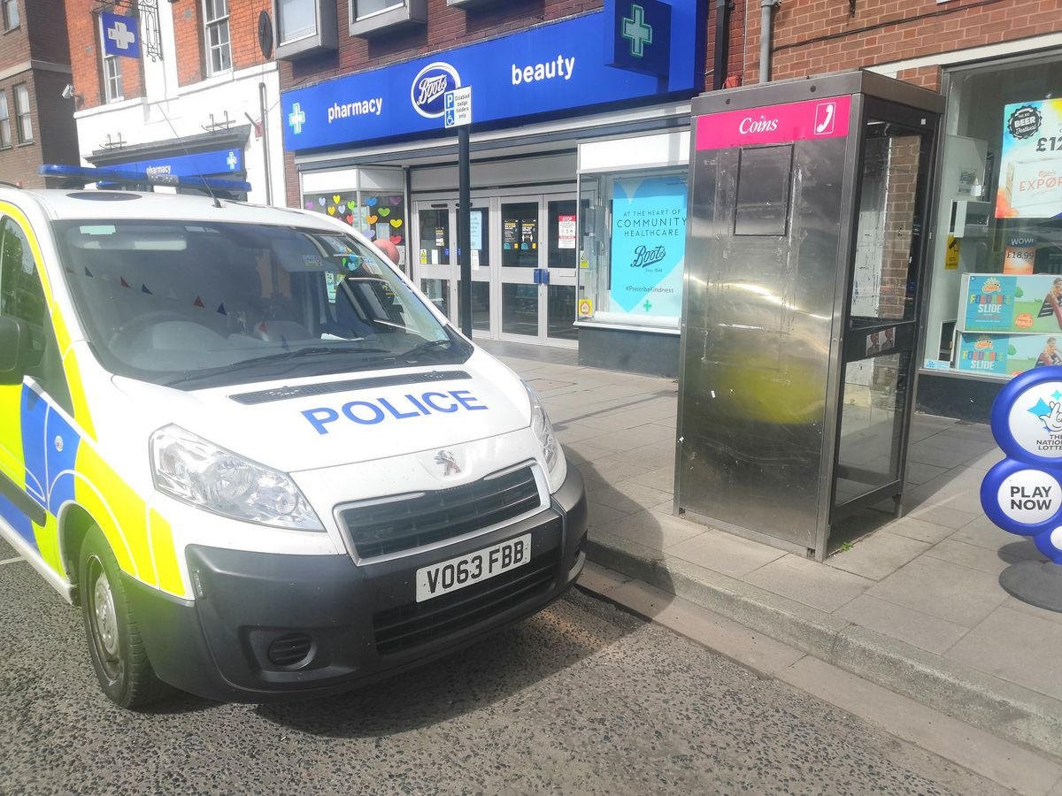 The phone box where the calls were made. Photo: @NewportCops