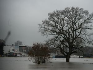 Worcester racecourse was flooded as the River Severn rose (Jacob King/PA)