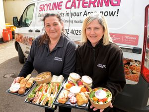 Sisters Lisa Farrington and Diane Anthony, of Skyline Catering, which has branched out into delivering afternoon teas