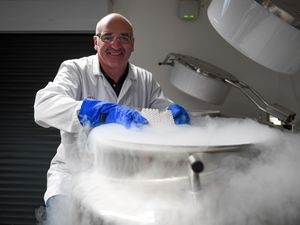 Tullis Matson cryopreserving a sample for storage