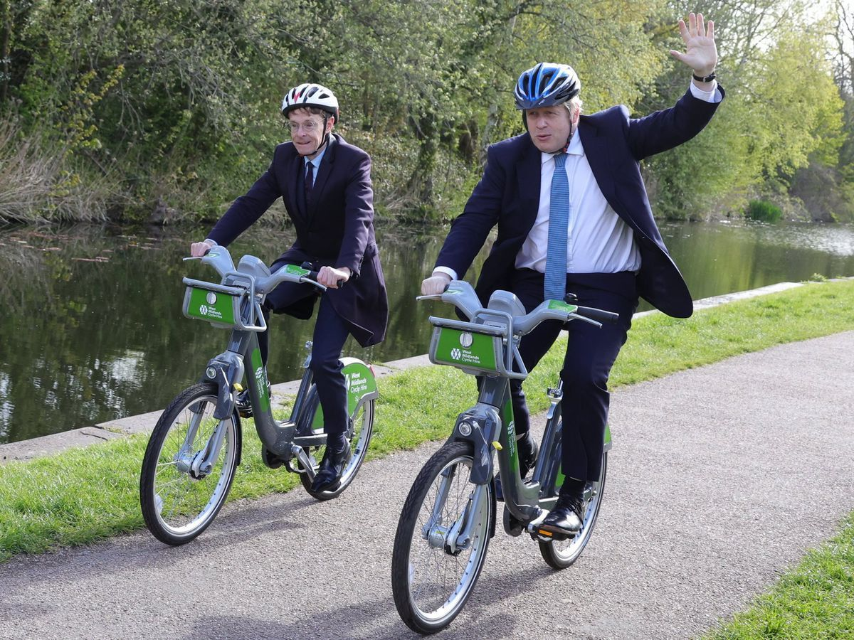 Andy Street and Boris Johnson cycle along the canal in Stourbridge