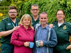 Telford father reunited with paramedics who revived him