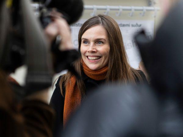 Iceland's prime minister Katrin Jakobsdottir speaking to the media on Saturday