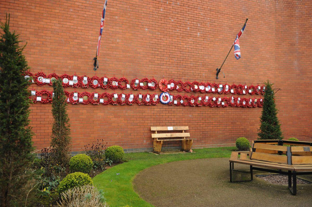 Wreaths displayed at the war memorial