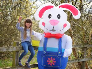 Lili-Ann Rowlands, 5, with the giant Easter bunny who will visiting the Mere at Ellesmere during the bank holiday weekend
