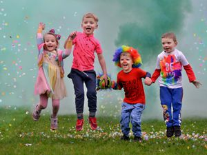 Priorslee Primary Academy School held a colour run, raising money for the Children's Ward at Princess Royal Hospital. Here is: Alice Duckett 4, William Geater 4, Jack Kingston 4 and Oscar Bates 4