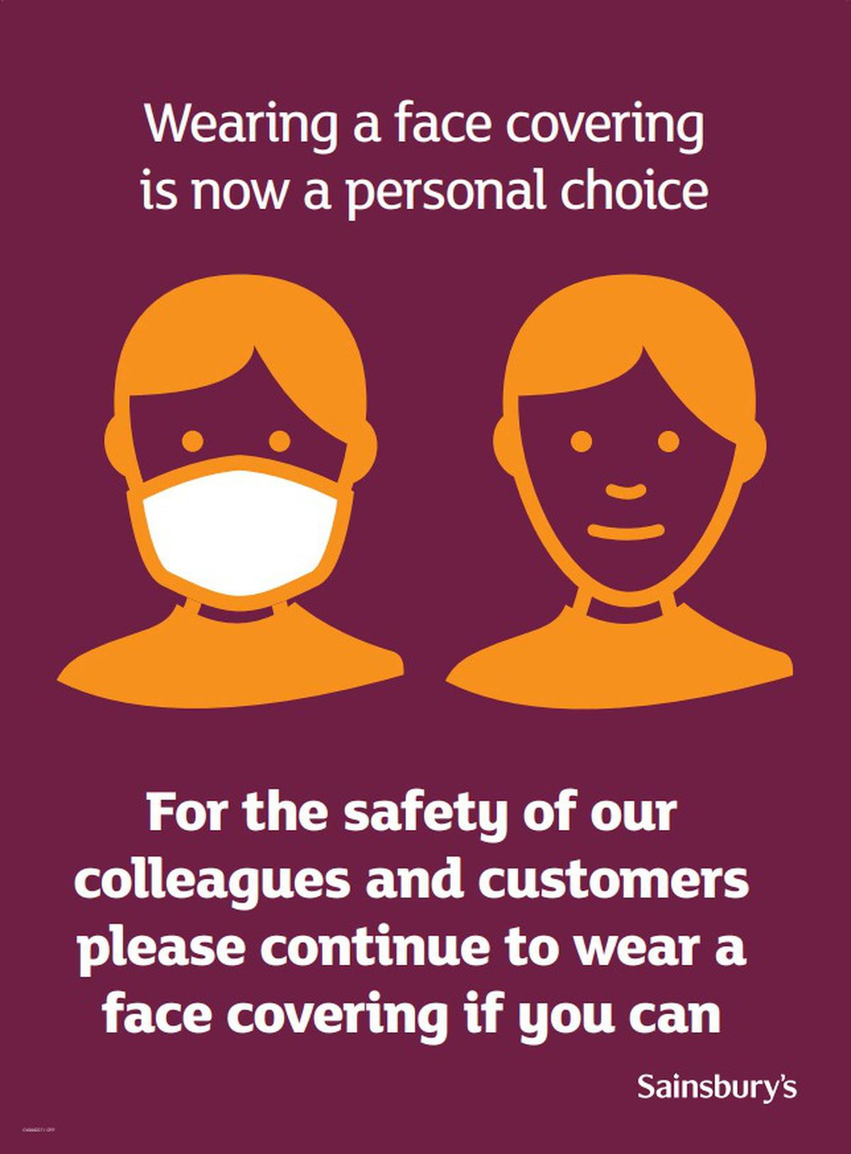 Sainsbury's wants customers to continue to wear masks