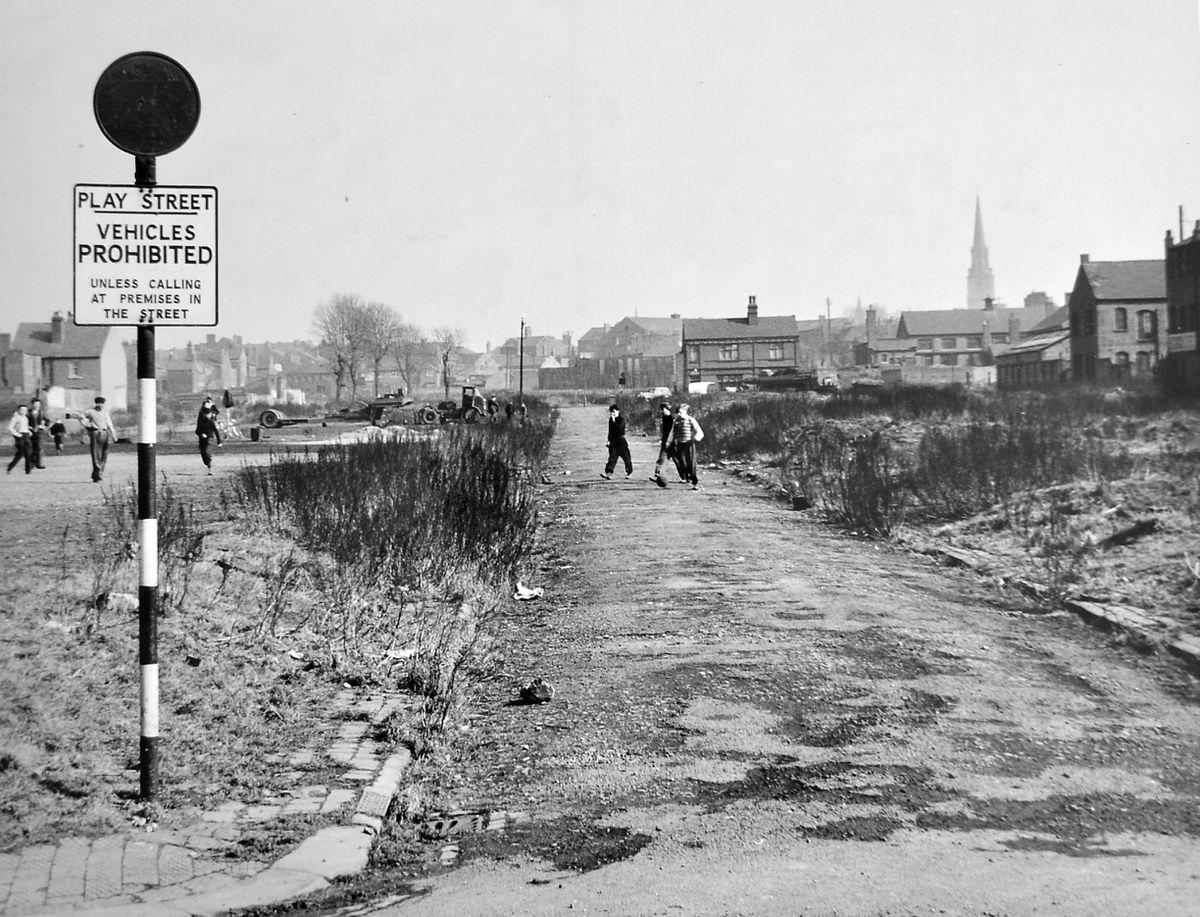 Desolation in Play Street, Brick Kiln Croft, Wolverhampton, in 1953.
