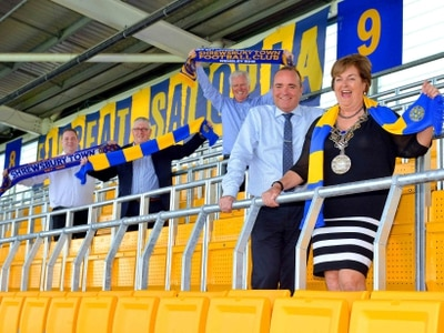 Safe standing launched at Shrewsbury Town ground - with video and pictures
