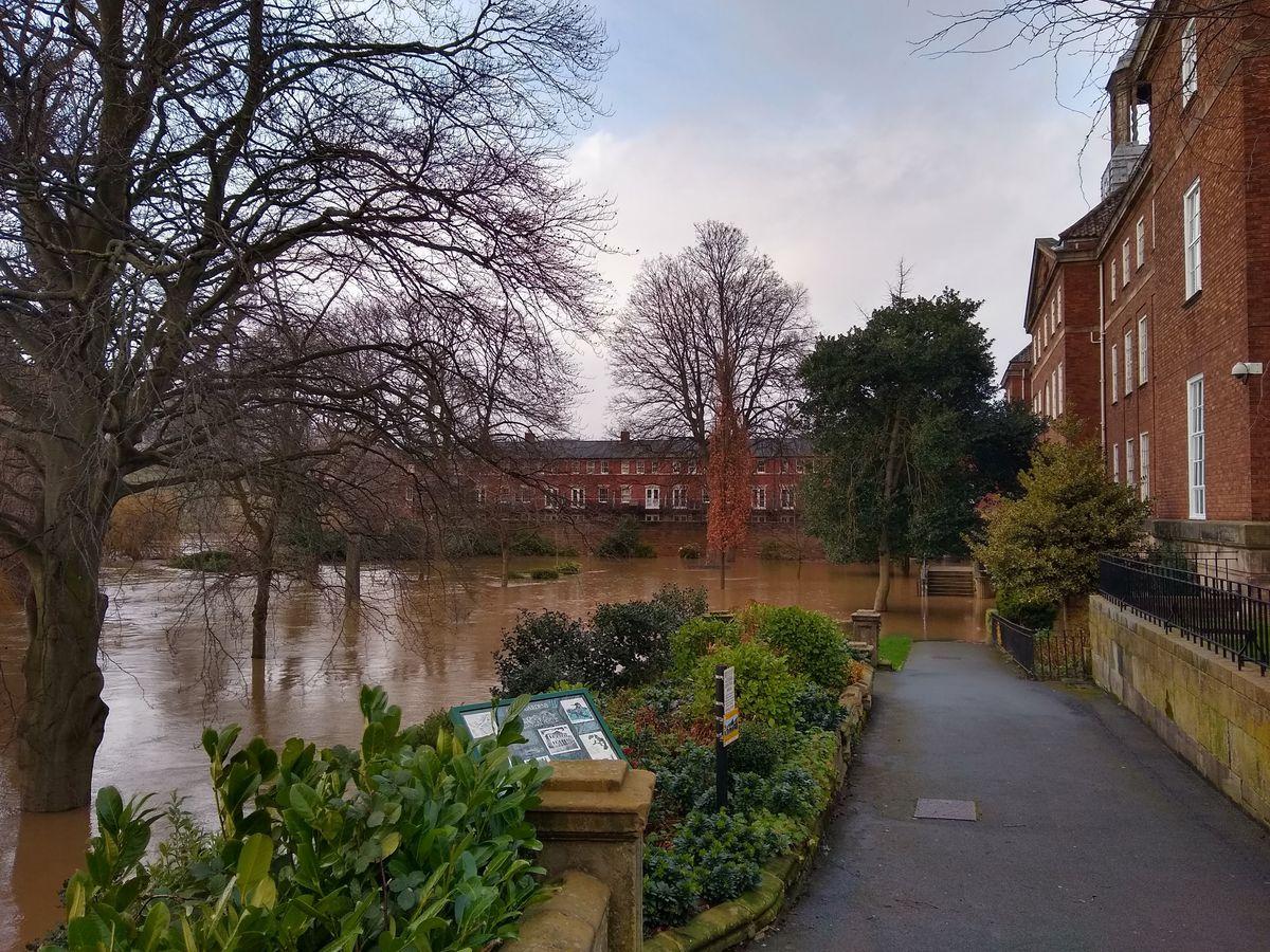 Flooding next to the English Bridge in Shrewsbury yesterday afternoon