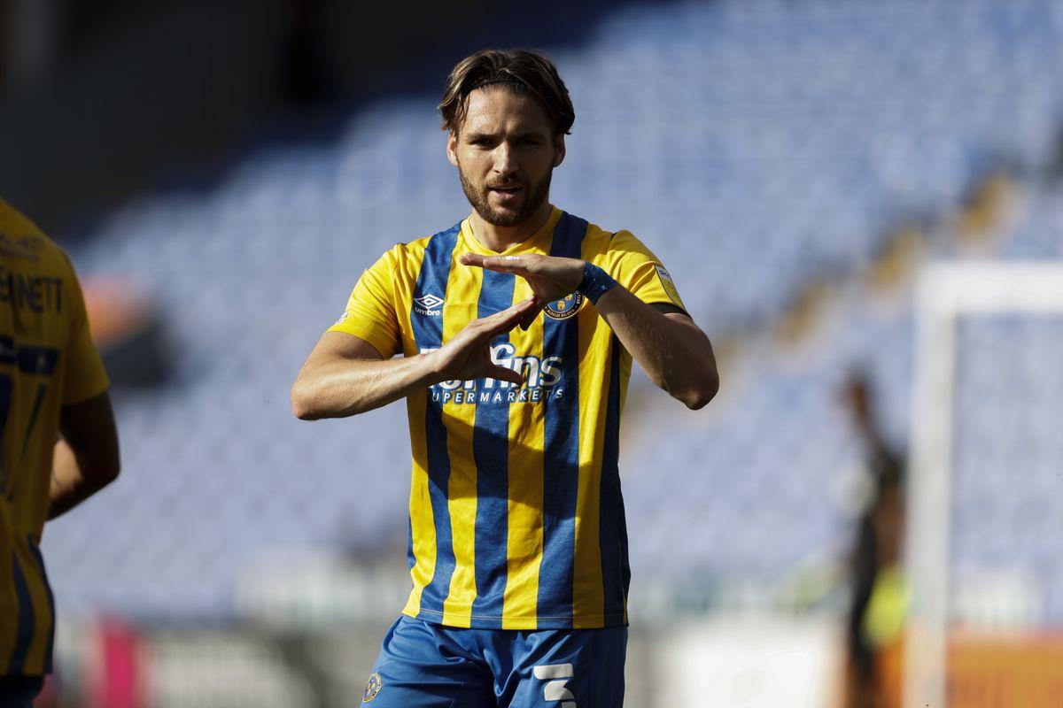 Luke Leahy of Shrewsbury Town celebrates after scoring a goal to make it 1-1 (AMA)