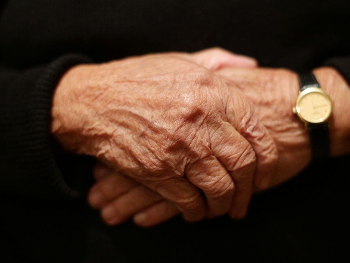 A pensioner's hands
