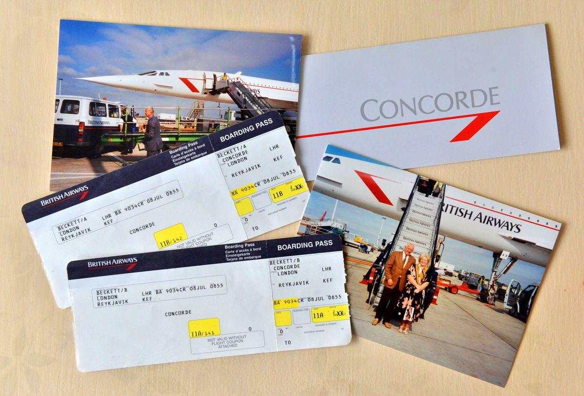Alan's tickets and photographs from his Concorde trip in 1996