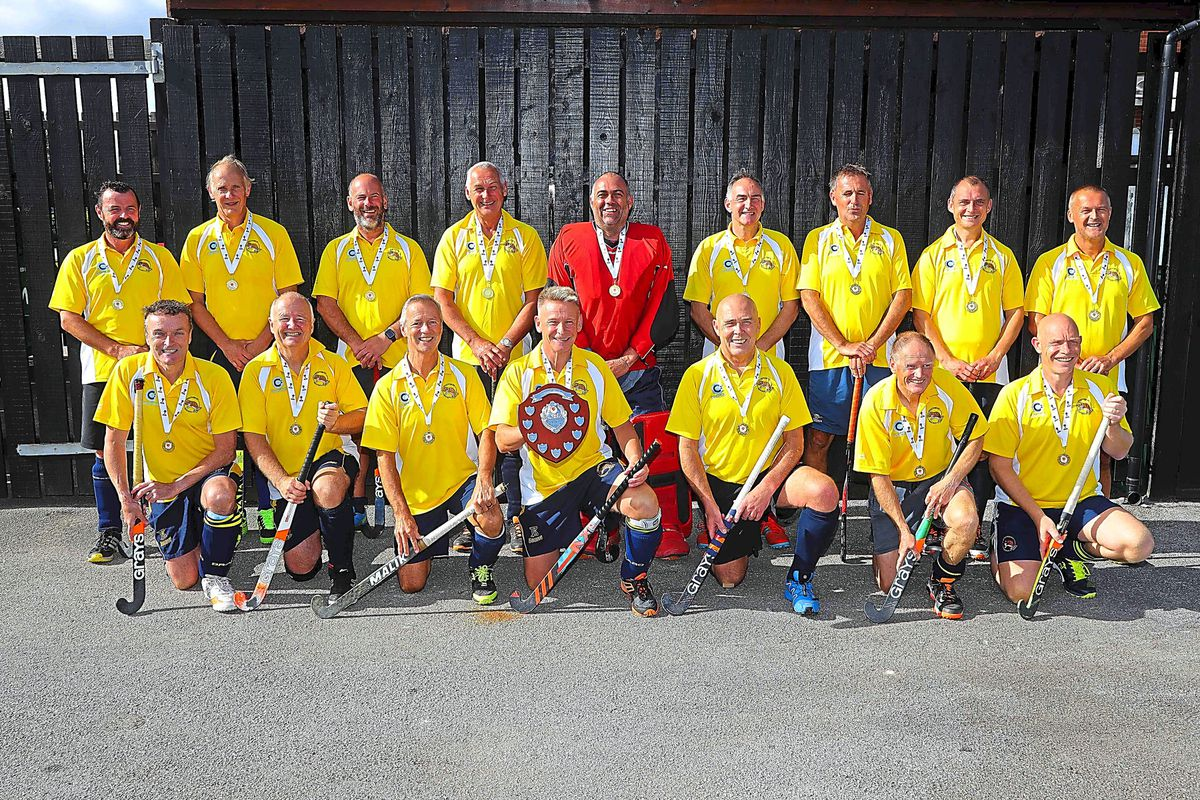 Champions: Shrewsbury line up following their England Hockey Over-50s Championship title success      Picture: Paul Quinn