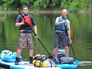 LAST COPYRIGHT EXPRESS&STAR TIM THURSFIELD-06/08/20.Duncan Liddell and Matt Potter are embarking on a 100 mile Stand Up Paddle-boarding challenge down the river Severn from Welshpool to Worcester aiming to raise awareness and as much money as possible for Worcester Snoezelen...