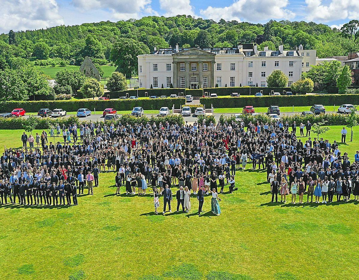 Concord College's full school photo taken via a drone