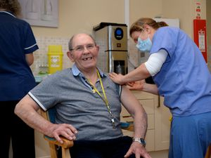 LAST COPYRIGHT EXPRESS&STAR TIM THURSFIELD-06/01/21.Residents at Wheatlands Care Home, Much Wenlock, begins to get their vaccines. Duncan MacPhee receives his vaccine.........