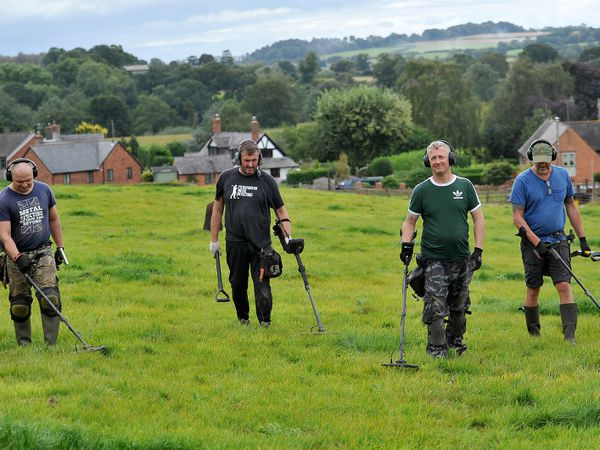 Sergey Gusves, Paul Williams, Jason Mellington and Anthony Horsfield search for buried treasure