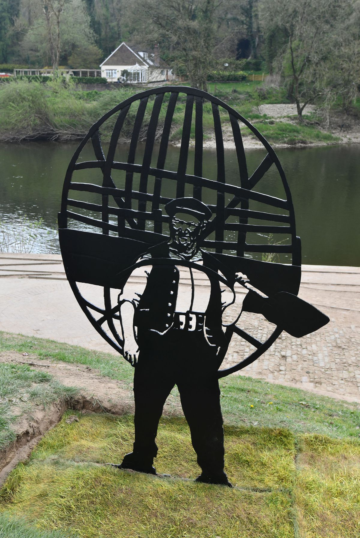 The iron sculpture of Ironbridge coracle man Tommy Rogers. Picture: David Bagnall