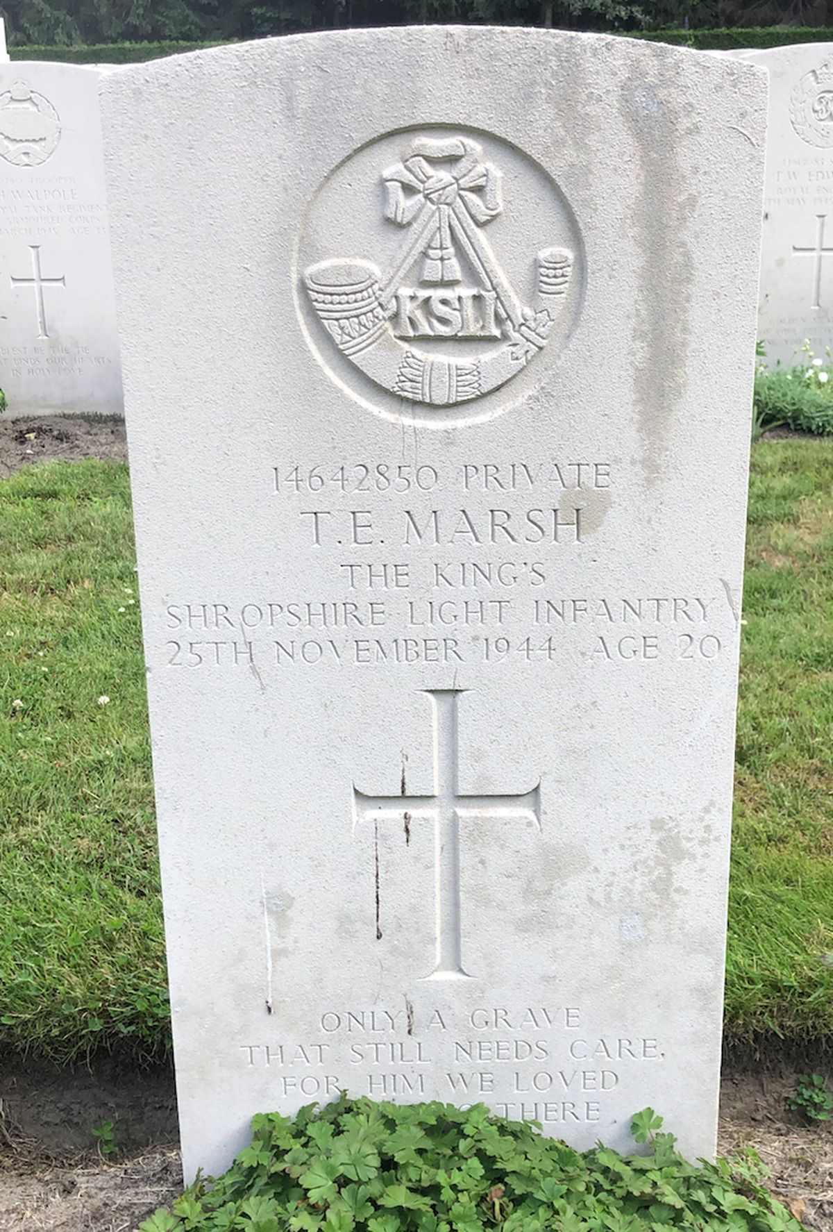 The grave of Private Thomas Enoch Marsh of the 2nd Battalion of the King's Shropshire Light Infantry.