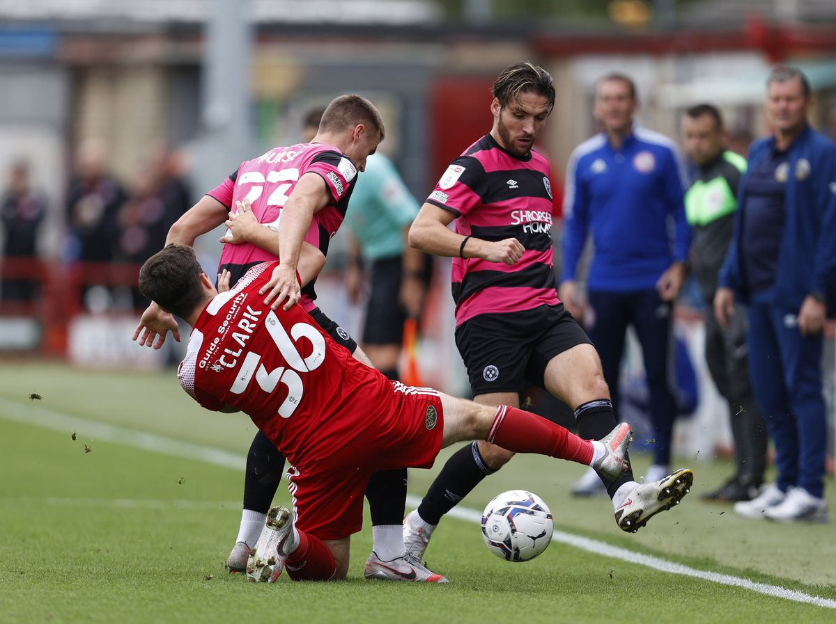 Luke Leahy of Shrewsbury Town and Mitch Clark of Accrington Stanley (AMA)